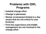 problems with qwl programs