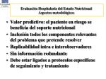 evaluaci n hospitalaria del estado nutricional aspectos metodol gicos