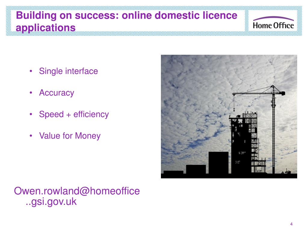 Building on success: online domestic licence applications