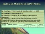 matriz de medidas de adaptacion