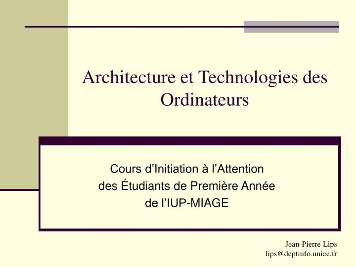 architecture et technologies des ordinateurs n.