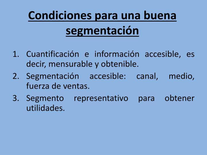 Condiciones para una buena segmentación