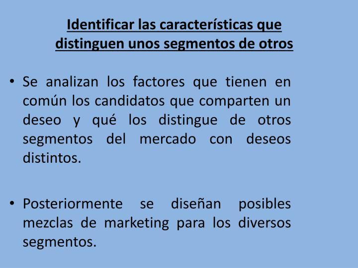 Identificar las características que distinguen unos segmentos de otros