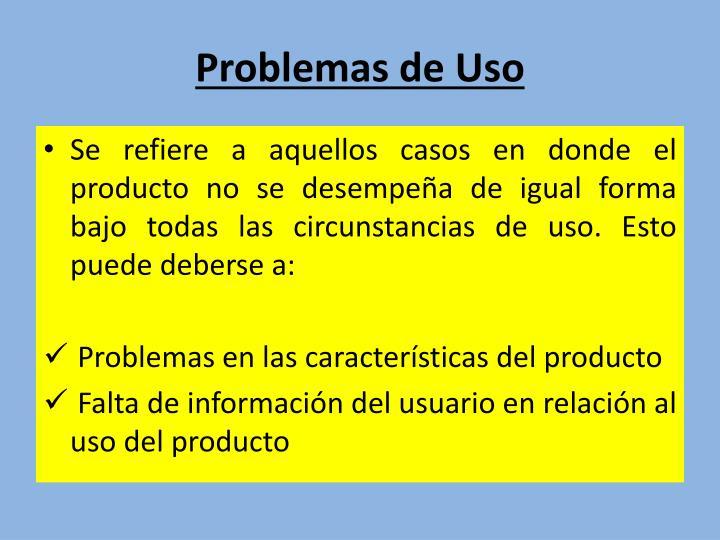 Problemas de Uso