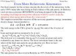 even more relativistic kinematics