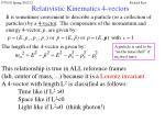 relativistic kinematics 4 vectors