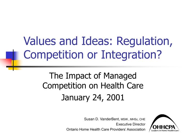 values and ideas regulation competition or integration n.