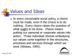 values and ideas