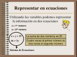 representar en ecuaciones