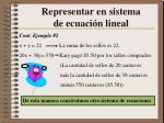 representar en sistema de ecuaci n lineal1