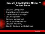 oracle9 i dba certified master content areas