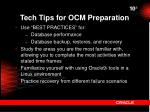 tech tips for ocm preparation