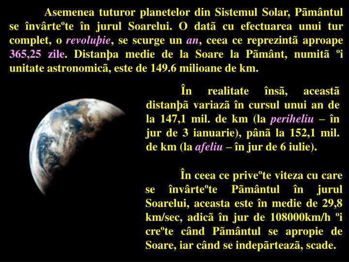 Asemenea tuturor planetelor din Sistemul Solar, Pãmântul se învârteºte în jurul Soarelui. O datã cu efectuarea unui tur complet, o
