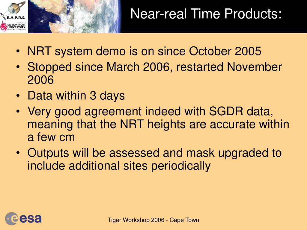 Near-real Time Products: