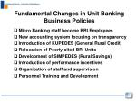 fundamental changes in unit banking business policies