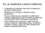 co je modernita a teorie modernity