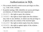 authorization in sql
