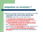 adaptation ou r volution