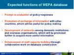 expected functions of wepa database