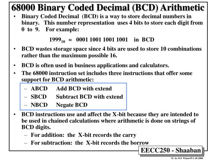 68000 binary coded decimal bcd arithmetic n.