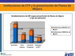 instituciones de etp y la presentaci n de planes de mejora