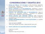 consideraciones y desaf os 2010