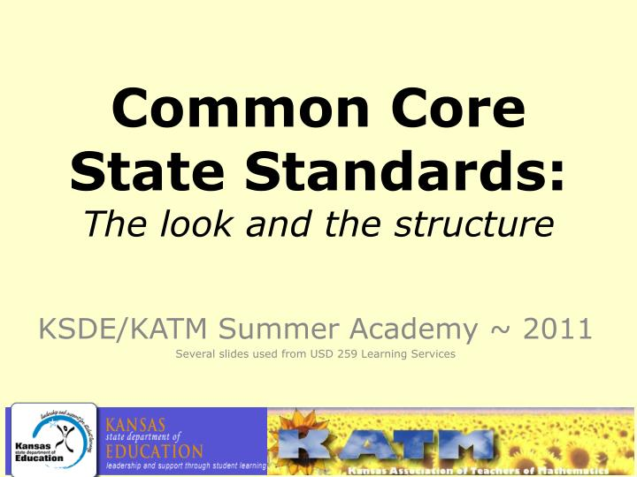 common core state standards the look and the structure n.