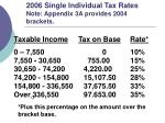 2006 single individual tax rates note appendix 3a provides 2004 brackets