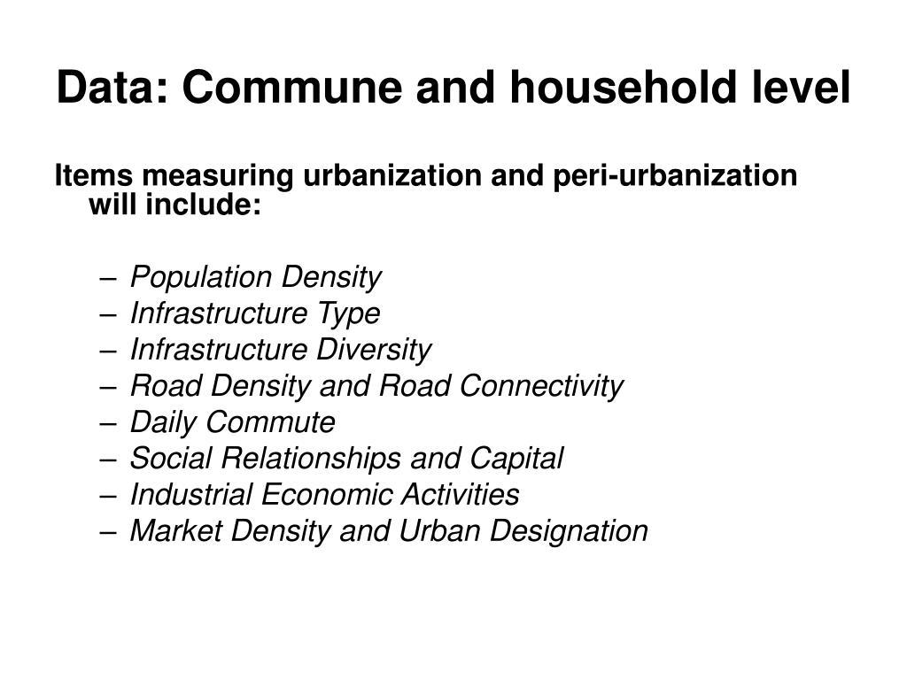 Data: Commune and household level