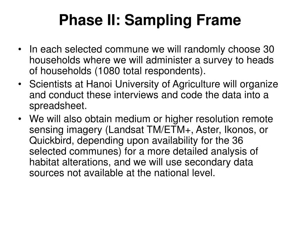Phase II: Sampling Frame