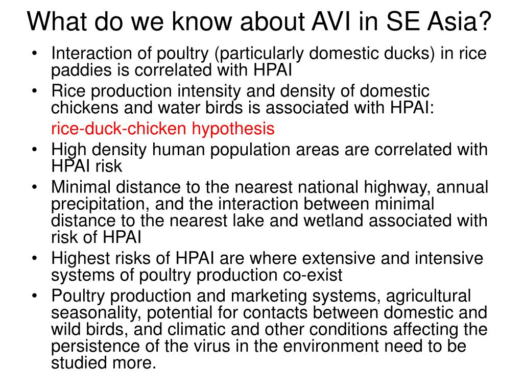 What do we know about AVI in SE Asia?