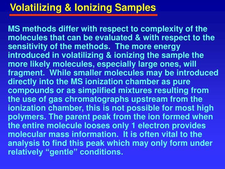 Volatilizing & Ionizing Samples