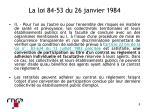 la loi 84 53 du 26 janvier 19841