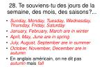 28 te souviens tu des jours de la semaine des mois des saisons