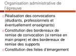 organisation administrative de l preuve