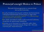 potencja energii s o ca w polsce