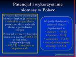 potencja i wykorzystanie biomasy w polsce