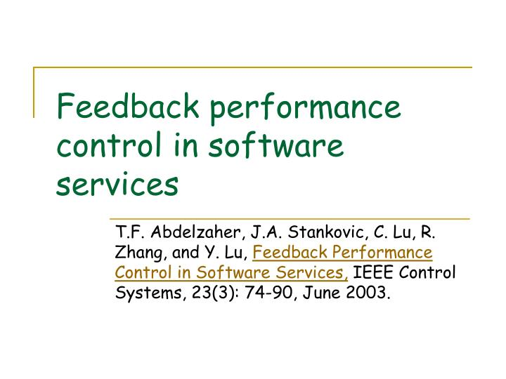 feedback performance control in software services n.