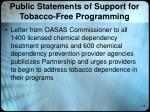 public statements of support for tobacco free programming