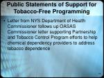 public statements of support for tobacco free programming1