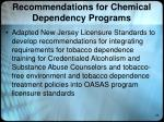recommendations for chemical dependency programs