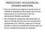 produccion y aplicaci n del oxigeno medicinal