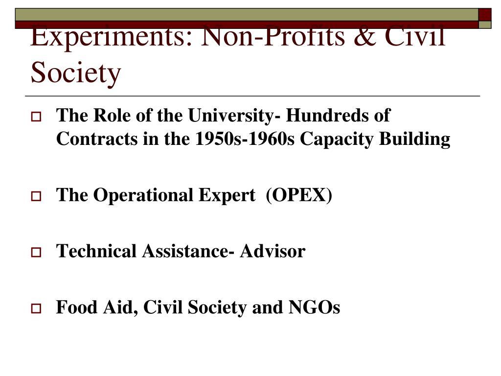 Experiments: Non-Profits & Civil Society