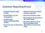 common reporting errors