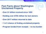 fast facts about washington unclaimed property