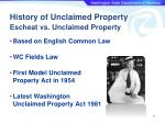 history of unclaimed property