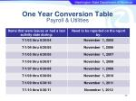 one year conversion table payroll utilities