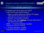 improvements and reminders proficiency testing frequency
