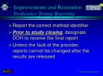 improvements and reminders proficiency testing reporting