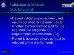 validation of methods 5 5 4 5 cont d